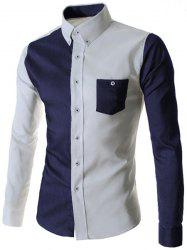 Color Block Pocket Button Down Casual Shirt - CADETBLUE