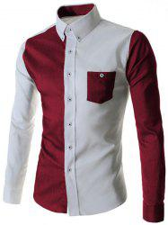 Color Block Spliced Turn-Down Collar Long Sleeve Pocket Button-Down Men's Shirt