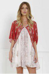 V Neck Short Sleeve Vintage Print Dress