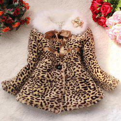 Stylish Long Sleeve Fur Collar Leopard Print Self-Tie Girl's Coat