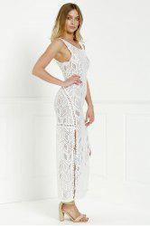 Cut Out Fitted Lace Slit Maxi Dress -