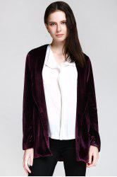 Stylish Shawl Collar Long Sleeve Deep Purple Women's Jacket - Глубокий фиолетовый M