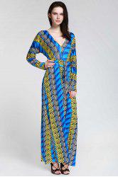 Plunge Long Sleeve Printed Maxi Dress