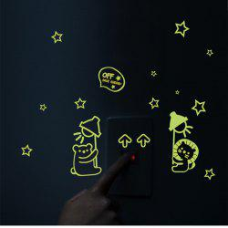 Bear Cat Pattern Luminous Switch Wall Stickers Removable Noctilucence Wallpaper -