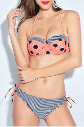 Sexy Halter Stripe Polka Dot Women's Bikini Set