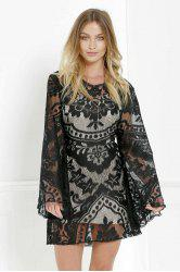 Mini Long Sleeve Lace Sheer Casual Dress