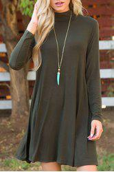 Stylish Turtle Collar Long Sleeve Pure Color A Line Women's Dress