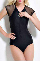 Fashion Voile Spliced See-Through Zipper Solid Color One Piece Women's Swimwear