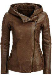 Chic Hooded Long Sleeve Zip Pockets Women's PU Leather Jacket - COFFEE