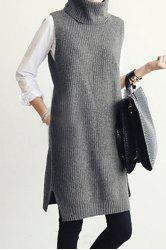 Stylish Turtle Neck Sleeveless Gray Women's Jumper