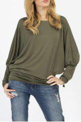 Stylish Scoop Neck Long Sleeves Pure Color Loose Women's T-Shirt