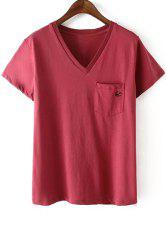 Casual Style V Neck Short Sleeve Swallow Embroidery Women's T-Shirt