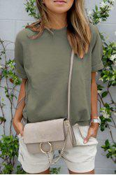 Casual Round Neck Short Rolled Sleeve Women's Green T-Shirt