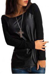 Stylish Round Collar Long Sleeve PU Leather Spliced Women's T-Shirt
