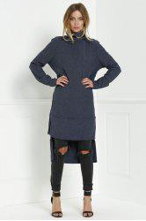 Turtleneck Knitted High Low Dress -