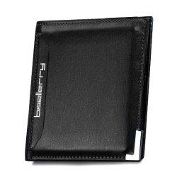 Faux Leather Flap Short Wallet - BLACK