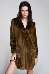 Stylish Long Sleeve Cozy Velvet Women's Shirt Dress -