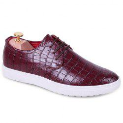 Fashion Crocodile Print and Lace-Up Design Men's Casual Shoes -
