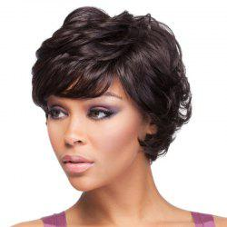 Elegant Side Bang Black Capless Stylish Short Fluffy Curly Synthetic Wig For Women -