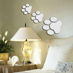 Chic Animal Footprint Shape Removeable DIY 3D Background Mirror Effect Wall Sticker -