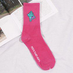 Pair of Chic Letter and Conch Pattern Socks For Women -