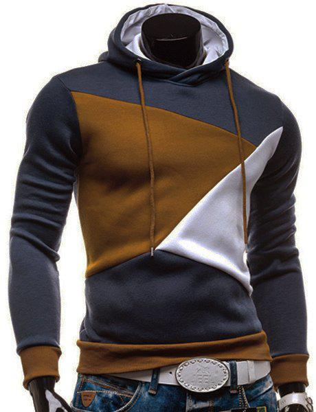 Irregular Color Lump Spliced Rib Hem Slimming Hooded Long Sleeves Mens Casual HoodieMEN<br><br>Size: M; Color: CADETBLUE; Material: Cotton Blends; Shirt Length: Regular; Sleeve Length: Full; Style: Casual; Weight: 0.4380kg; Package Contents: 1 x Hoodie;