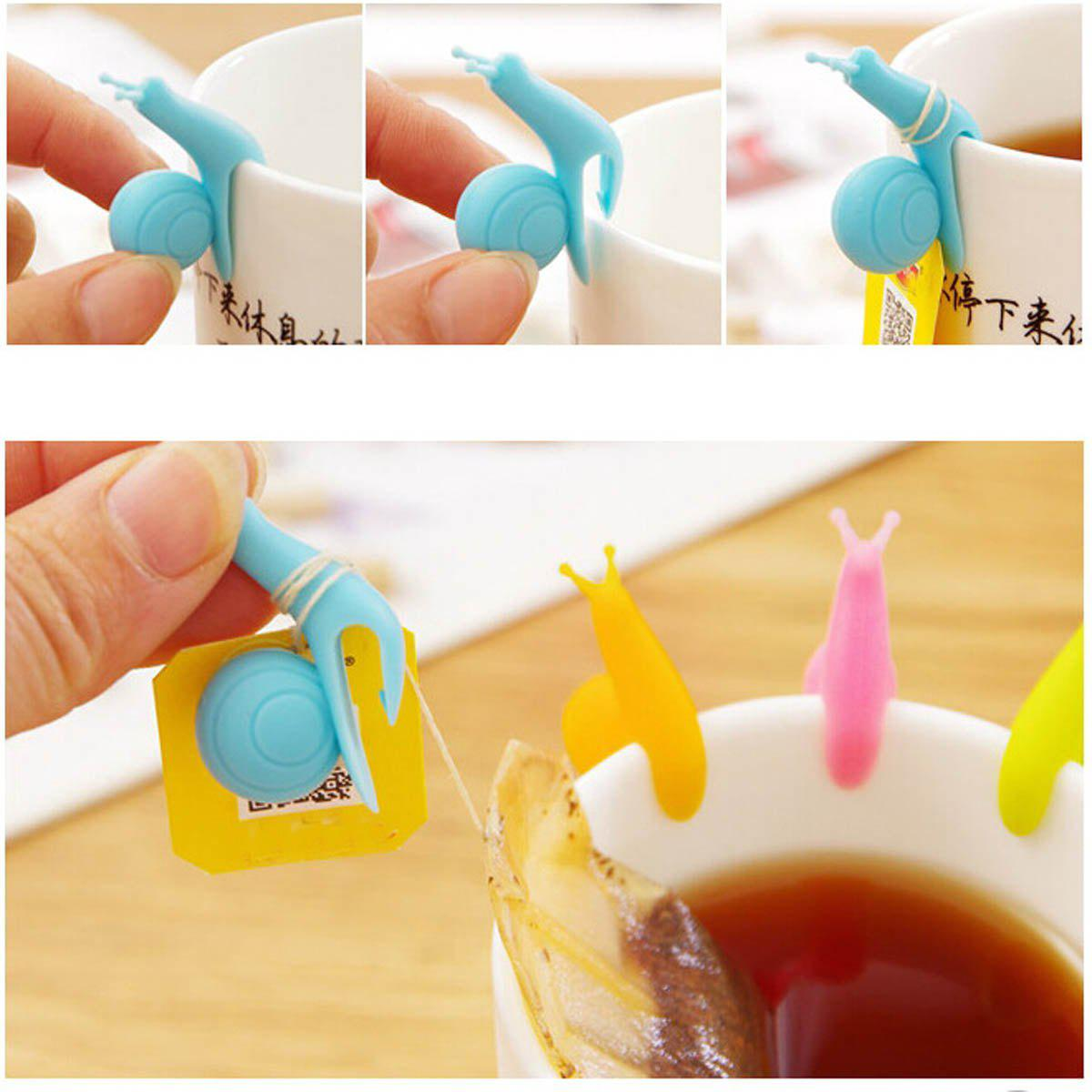 6PCS Cute Snail Design Silicone Tea Bag Holder Cup Mug AccessoryHOME<br><br>Color: RANDOM COLOR; Type: Novelty,Eco-friendly,Decoration,Practical; For: All; Occasion: Home,Living Room,Bedroom,Dining Room,Office,Others; Material: Silicone;