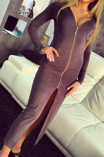 ff2716fa4b Sale Sexy V-Neck Long Sleeve Solid Color High Slit Bodycon Maxi Dress For  Women