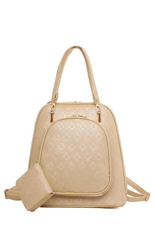Fancy Elegant Embossing and Solid Color Design Women's Satchel
