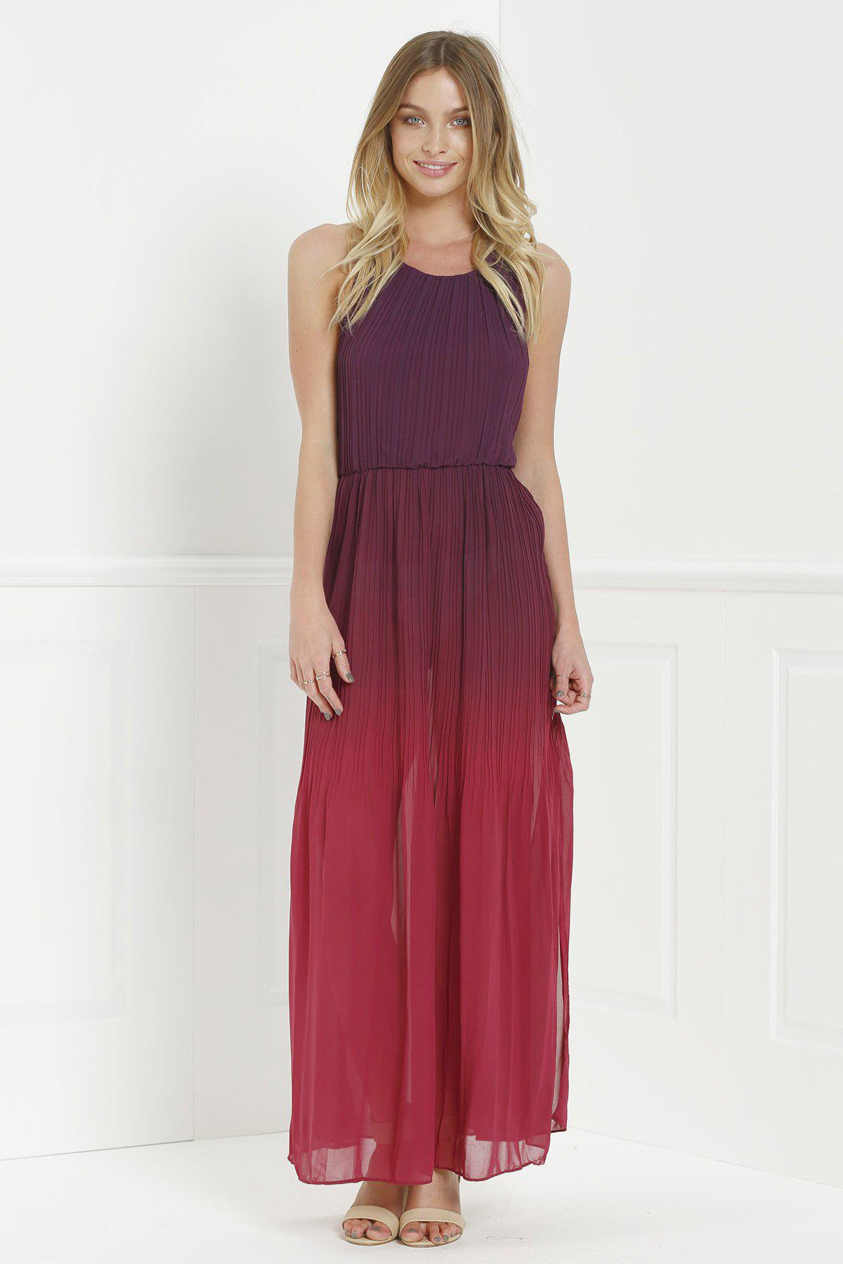 Red Elegant Halter Neck Sleeveless Ombre Color High Slit