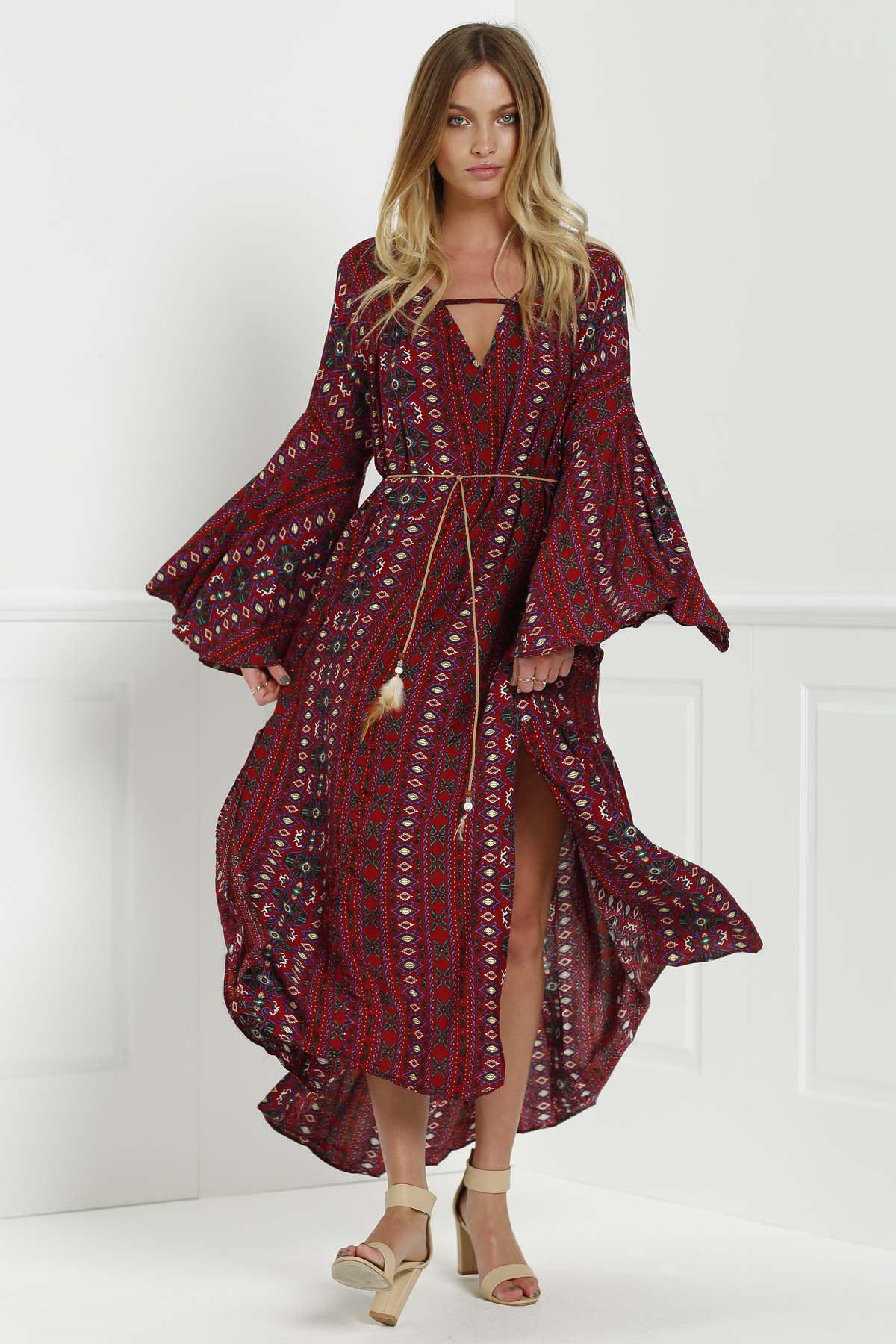 Hot Tribal Print Bell Sleeve Maxi Flowy Dress