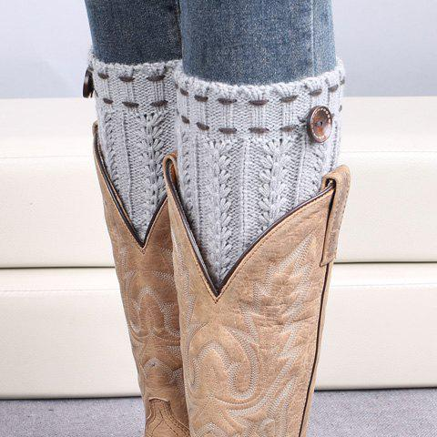 Pair of Chic Strappy and Button Embellished Knitted Boot Cuffs For WomenACCESSORIES<br><br>Color: LIGHT GRAY; Type: Leg Warmers; Group: Adult; Gender: For Women; Style: Fashion; Pattern Type: Solid; Material: Spandex; Weight: 0.099KG; Package Contents: 1 x Boot Cuffs (Pair);