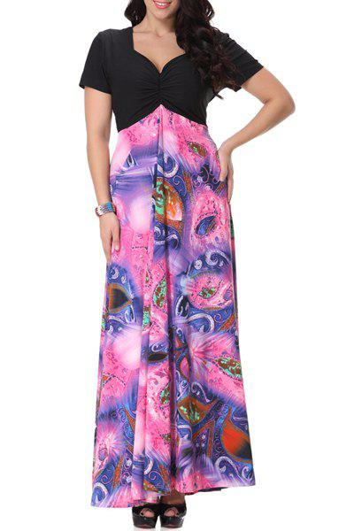 New Bohemian Sweetheart Neckline Short Sleeve Printed Maxi Dress For Women