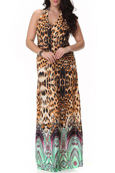 Fancy Bohemian Halterneck Leopard Print Maxi Dress For Women