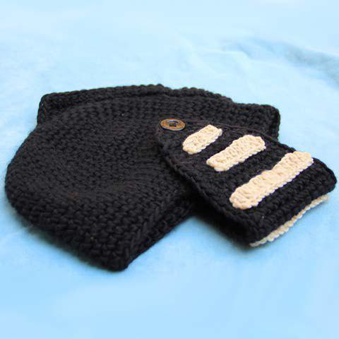 Shops Stylish Stripy and Button Embellished Knight Knitted Hat For Men