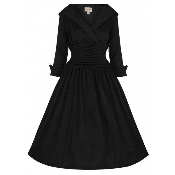Outfits Vintage Turn-Down Collar 3/4 Sleeve Slimming Dress For Women