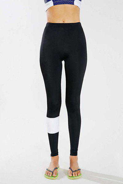 Fashion Active Style Mid Waist Skinny Black and White Splicing Women's Yoga Pants