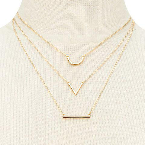 Shop Graceful Rhinestoned Horseshoe Three-Layered V-Shaped Necklace