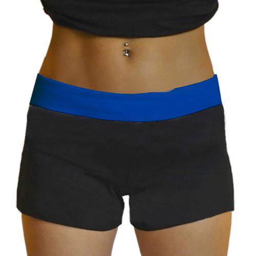 Fancy Active Style Elastic Waist Skinny Color Block Women's Yoga Shorts