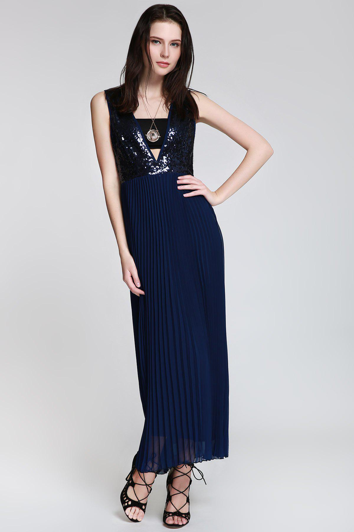Womens Sexy Style Deep V Neck Sequins Backless Sleeveless Dress For Women