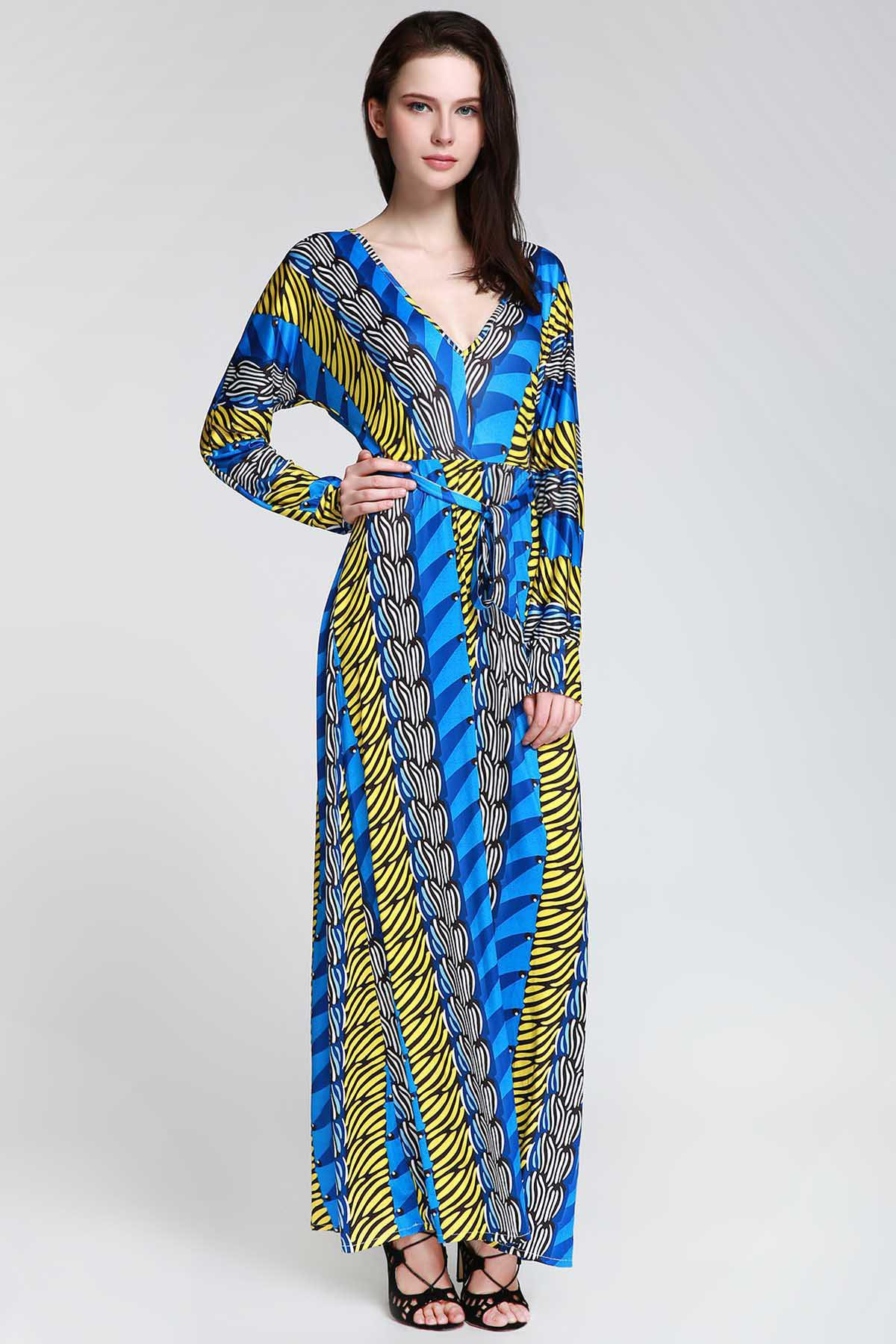 Chic Plunge Long Sleeve Printed Maxi Dress