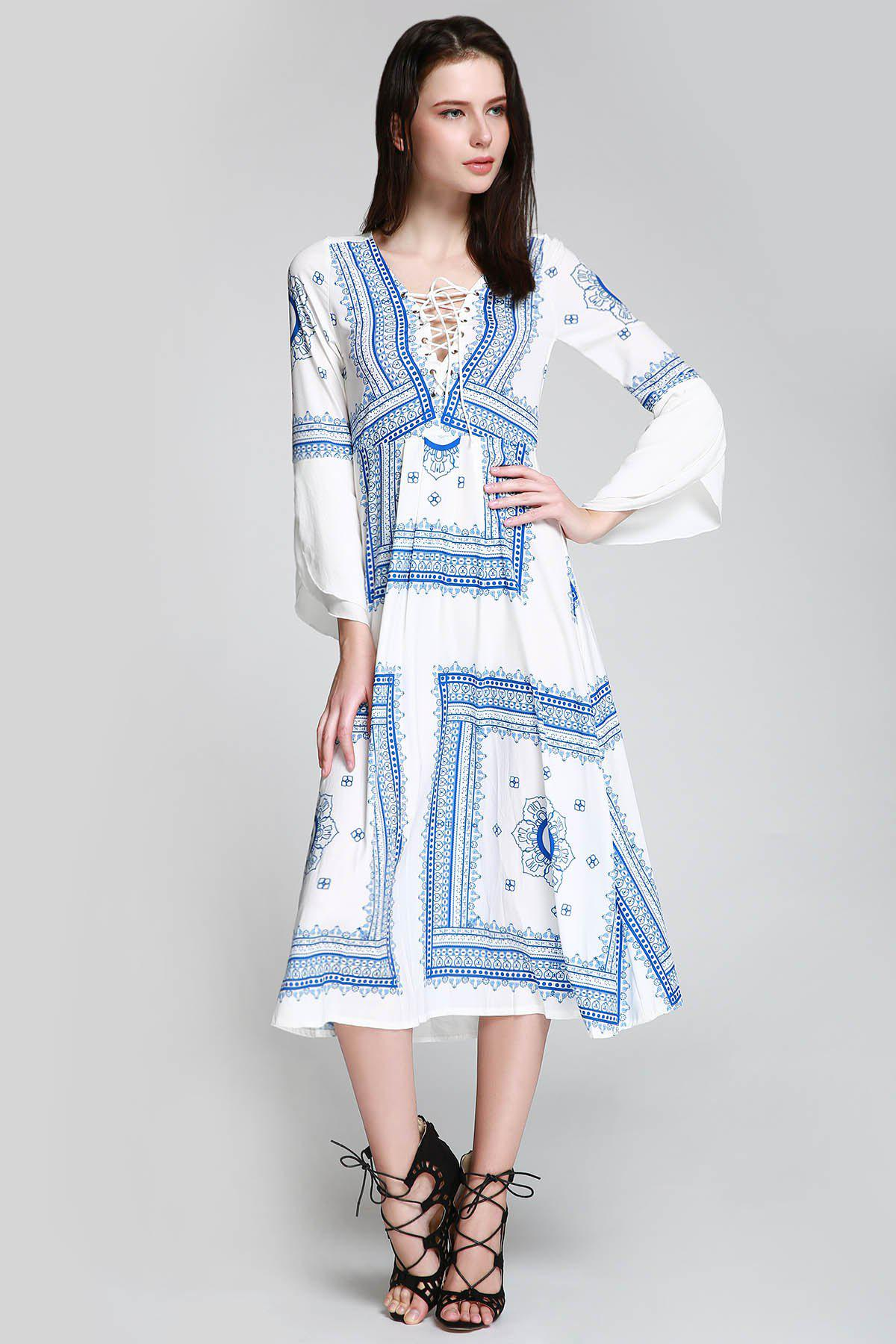 Store Long Sleeve Printed Romantic Boho Swing Beach Dress