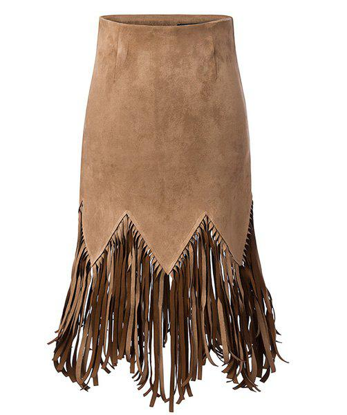 Buy Stylish High-Waisted Solid Color Fringed Design Women's Skirt