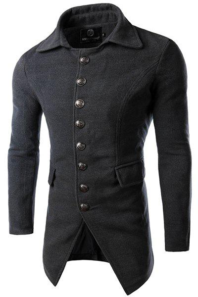 Outfits Multi-Button Flap Pocket Solid Color Turn-down Collar Long Sleeves Men's Woolen Blend Coat