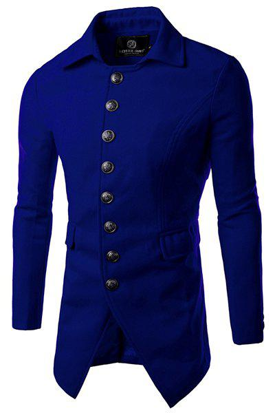 Store Multi-Button Flap Pocket Solid Color Turn-down Collar Long Sleeves Men's Woolen Blend Coat