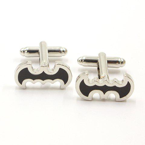 Affordable Pair of Stylish Black Bat Shape Alloy Cufflinks For Men