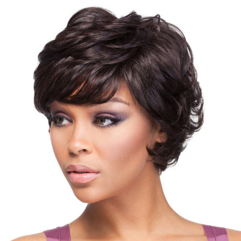 Best Elegant Side Bang Black Capless Stylish Short Fluffy Curly Synthetic Wig For Women