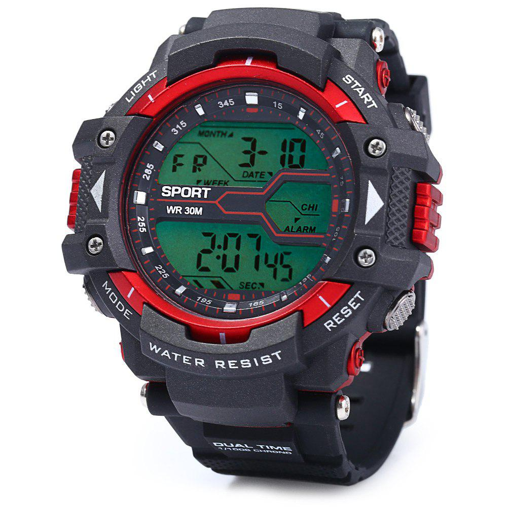 8338G Alarm Day Date Stopwatch Display Men LED Sports WatchJEWELRY<br><br>Color: RED; People: Male table; Watch style: Outdoor Sports,LED; Available Color: Black,Red,Blue,Green,Gold;