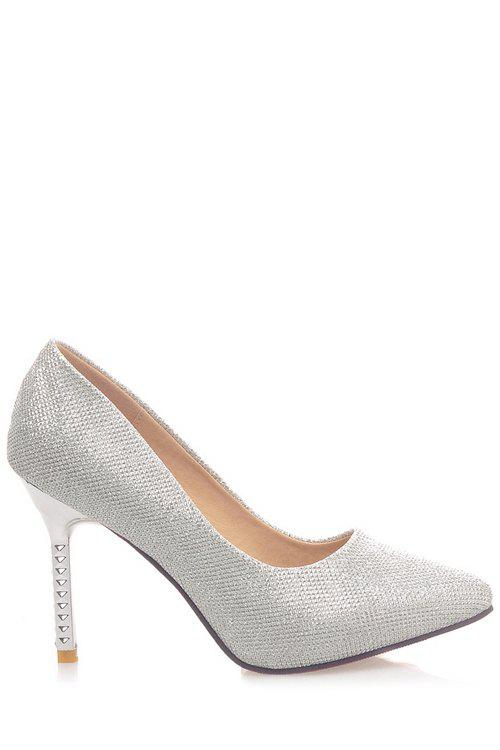Chic Trendy Sequined Cloth and Pointed Toe Design Women's Pumps