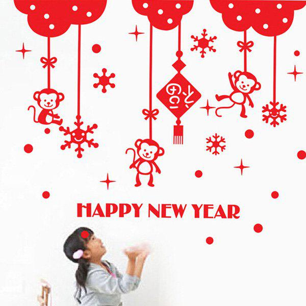 Discount Stylish The Character Fortune Removable Wall Sticker For New Year Decor
